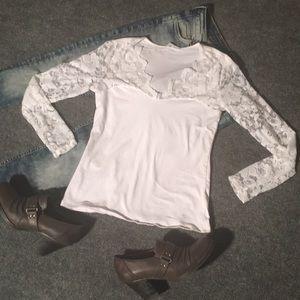 Small white lace Ambiance Apparel shirt